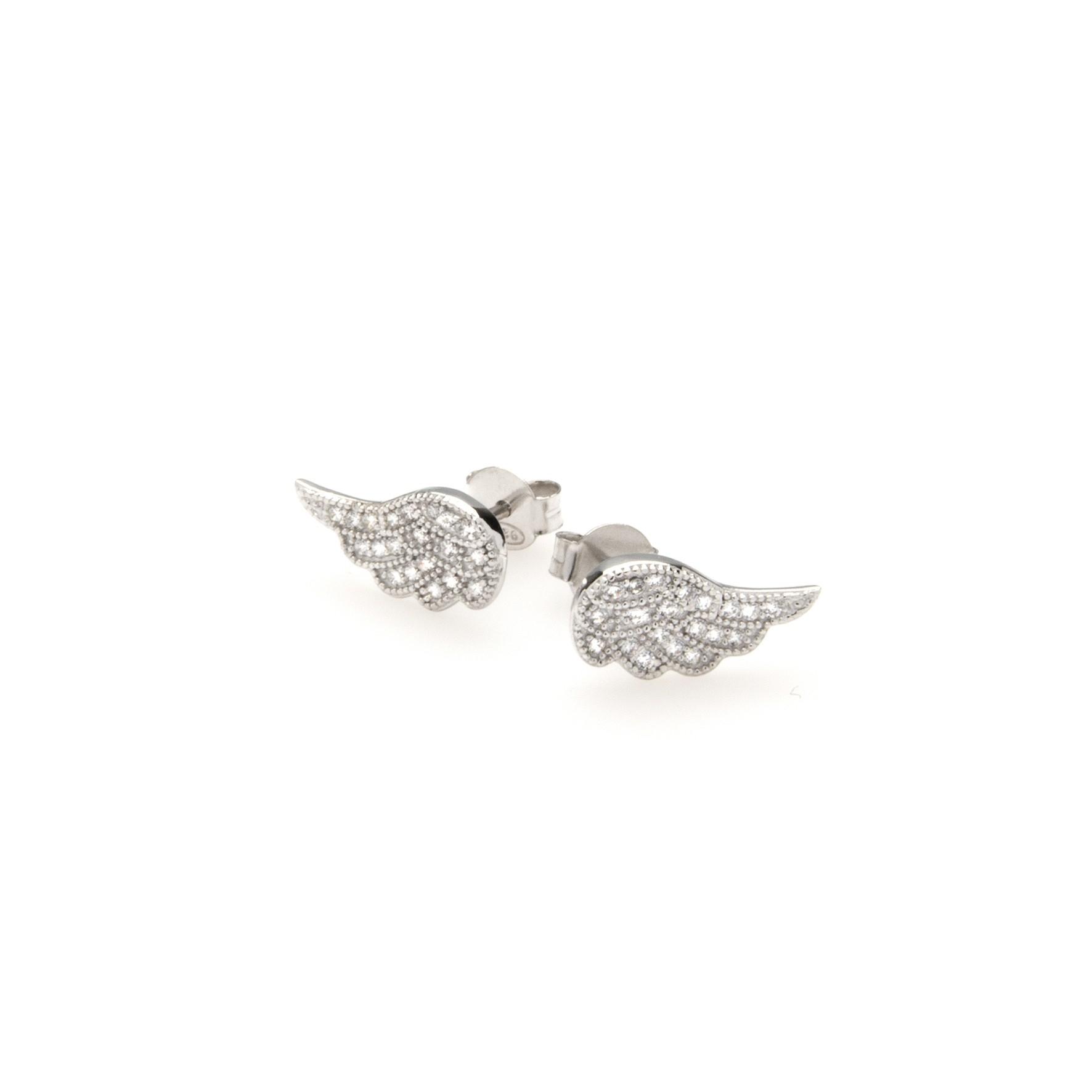 Kolczyki GLAMOUR srebrne skrzydła z cyrkoniami