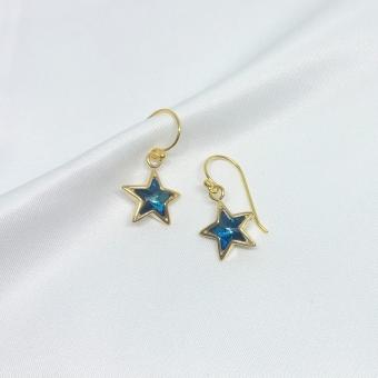 Kolczyki LARA pozłacane z niebieskimi gwiazdkami