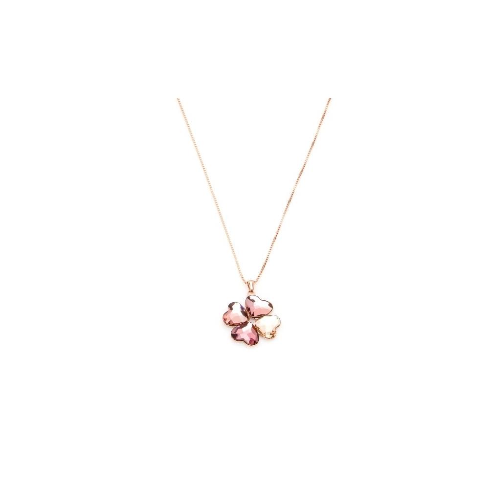 Naszyjnik VENUS srebrny pozłacany na różowo z Kryształem Swarovskiego