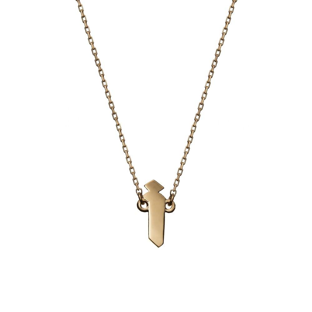 Naszyjnik BELIEVE srebrny pozłacany z literą I