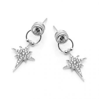 Kolczyki TRENDY srebrne z gwiazdkami i cyrkoniami