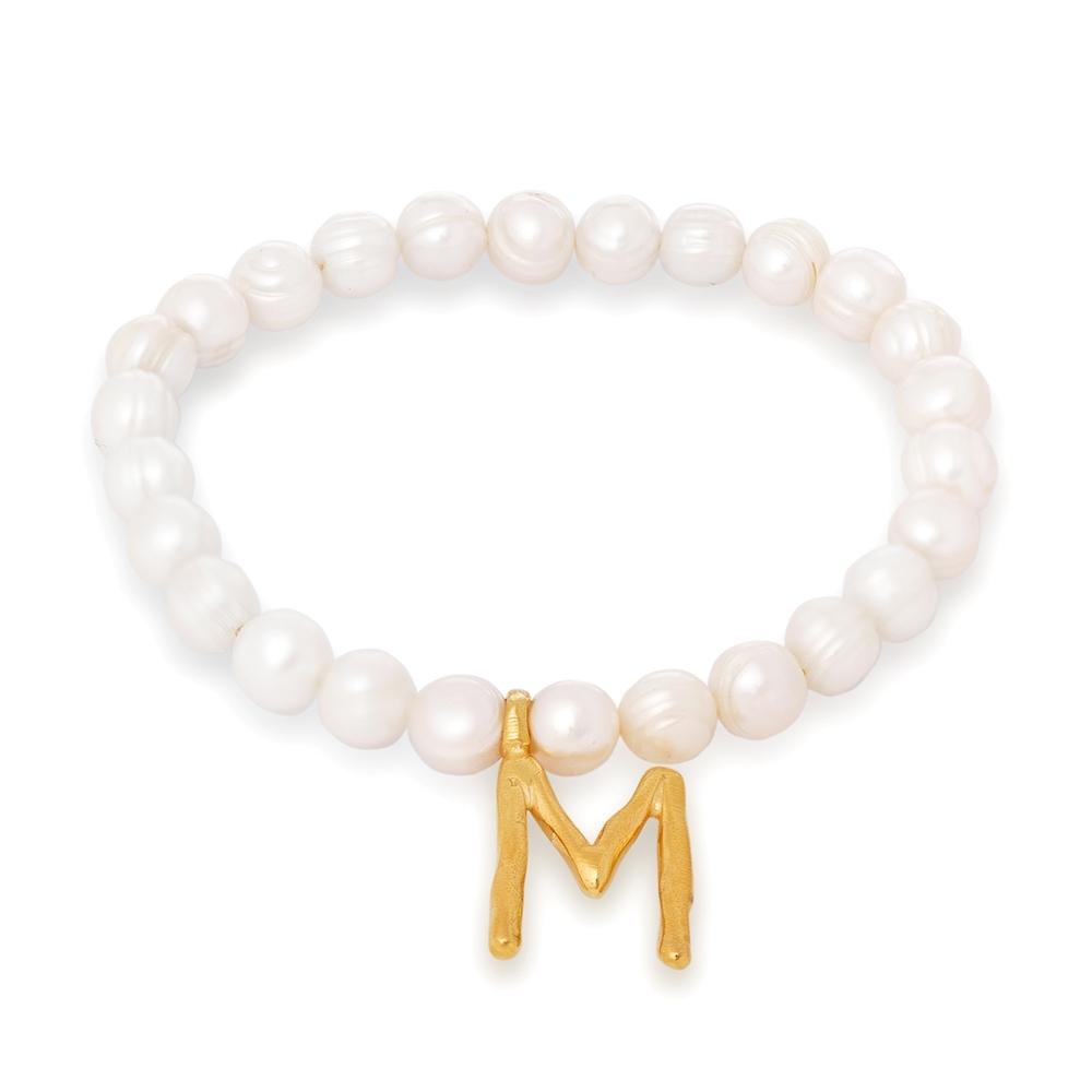 Bransoletka ARIEL z naturalnych pereł i literą M