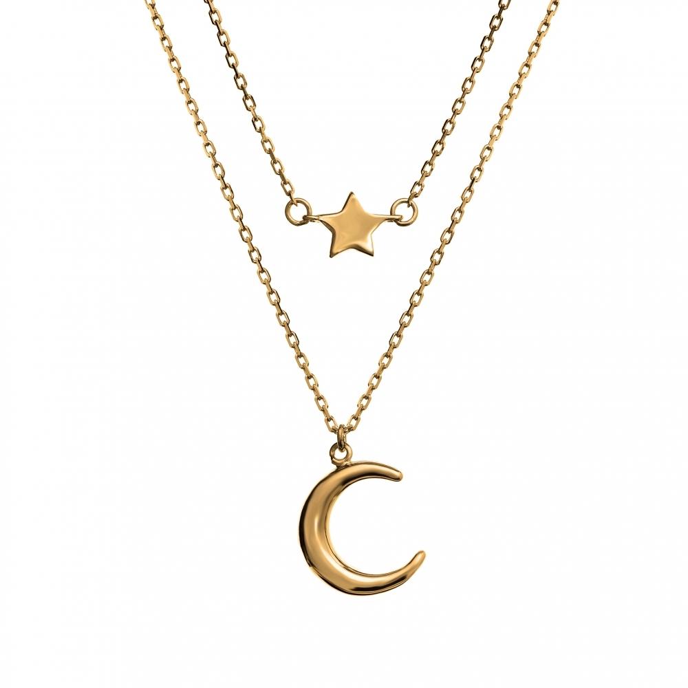 Naszyjnik SKY srebrny pozłacany z księżycem i gwiazdką