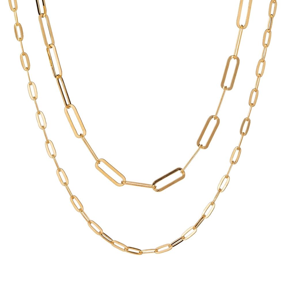 Łańcuch podwójny TRENDY srebrny pozłacany