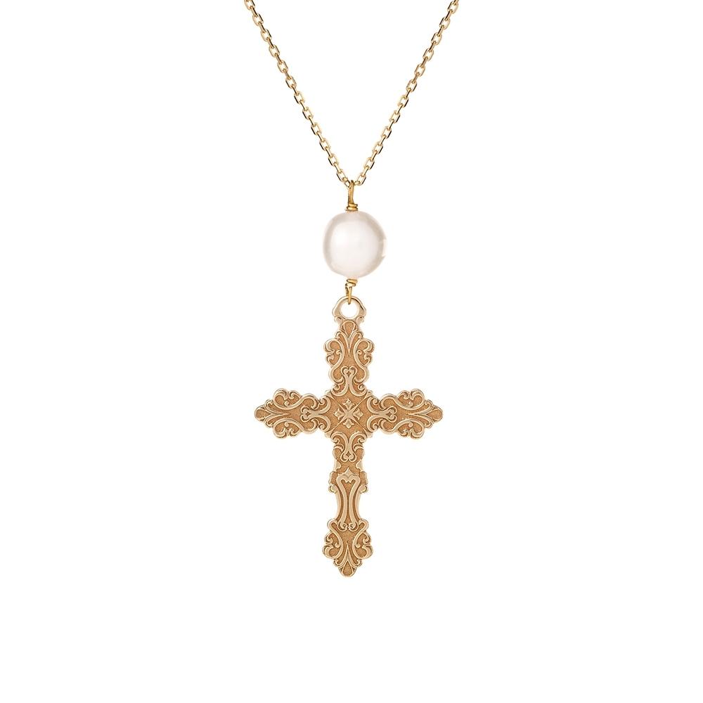 Naszyjnik TRENDY srebrny pozłacany z krzyżykiem i perłą