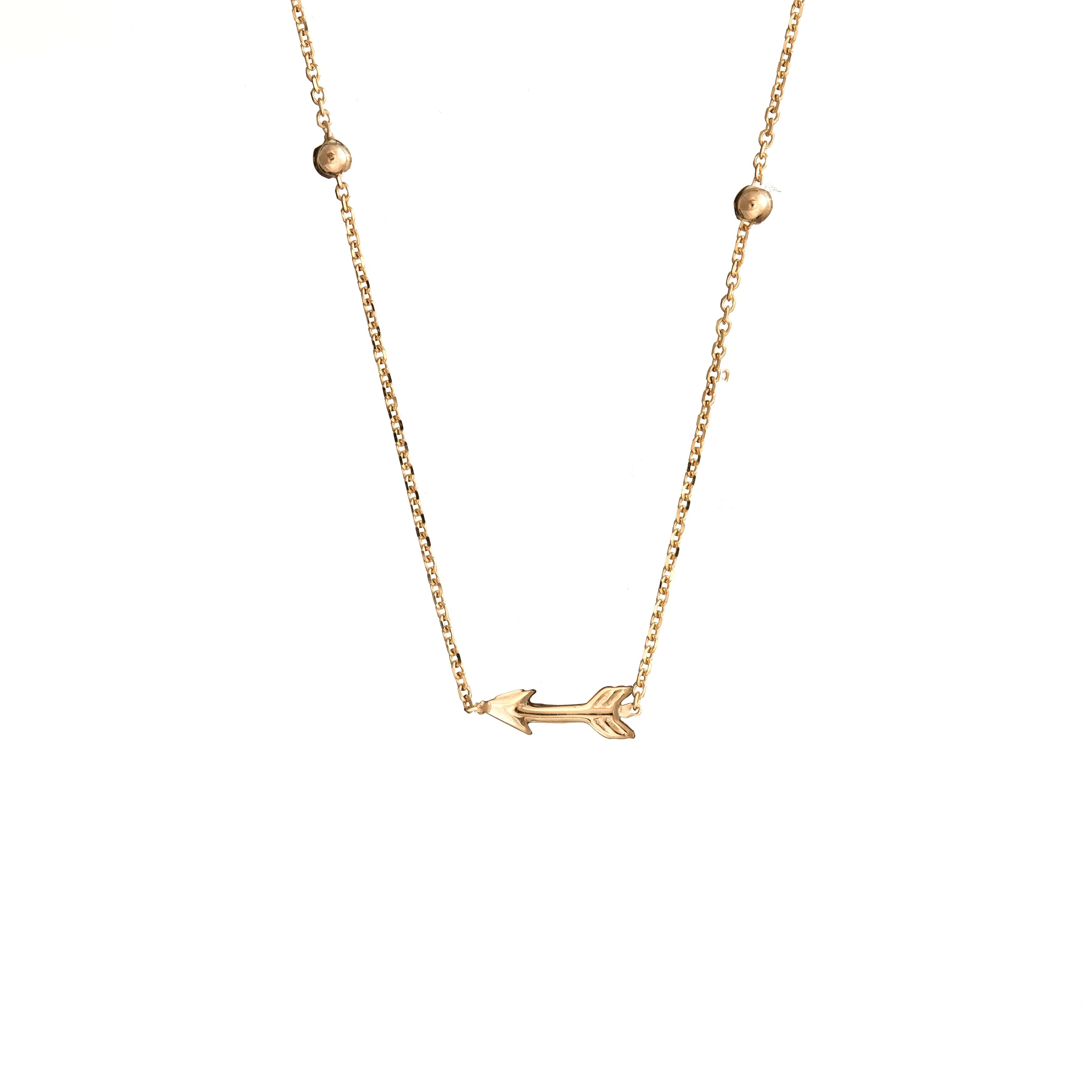 Naszyjnik SOFT złoty ze strzała i kuleczkami