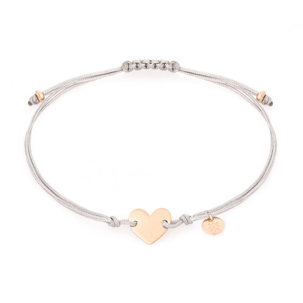 bransoletka sznurkowa celebrytka BELIEVE srebrna pozłacana na różowo z serduszkiem